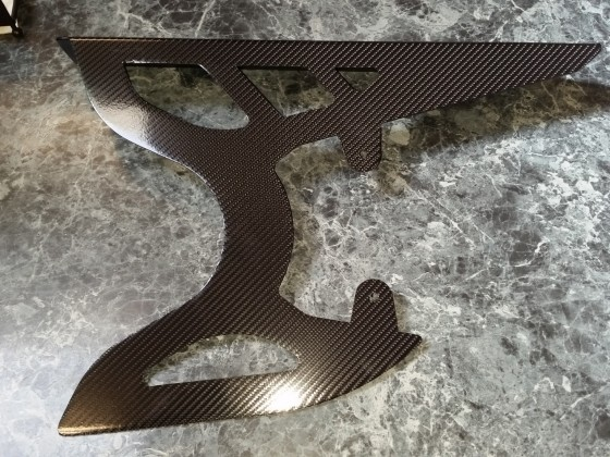 Carbon Fiber Decal placed on belt guard